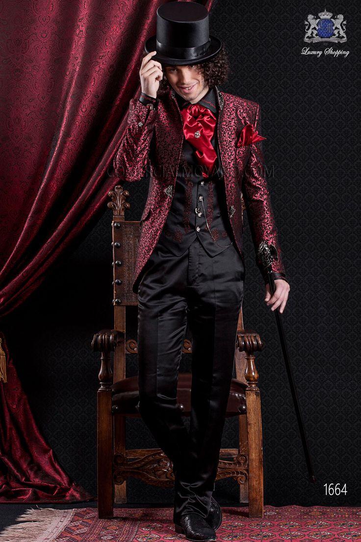 Traje de novio italiano de época barroco color rojo y negro brocado