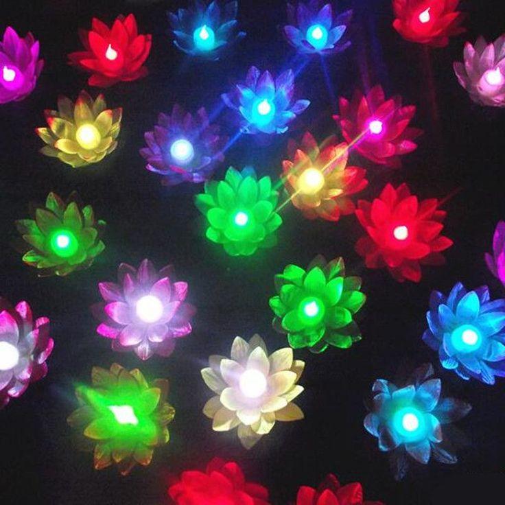 10pcs change color electronic lotus lantern light floating pool decorations night light wishing lamp outdoor lighting - Pool Decorations