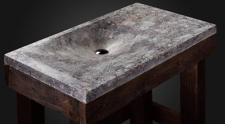 "Concrete sink ""Volcanic cream"".  The concrete sink has a light ash-gray color, and the unusual beige, brown and black shades against this background start to look like red-hot stones under a layer of lava."