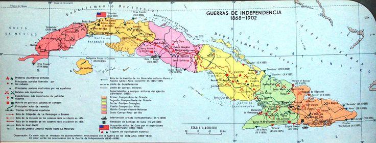 Mapa Cuba 1868-1902 (mapa de las  guerras de independencia)