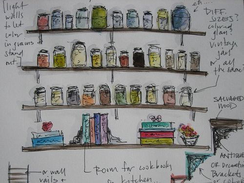 Glass jars for storage in open pantry (Pantry Detail by Marissa Huber)