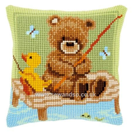 Buy Popcorn Fishing Cushion Front Chunky Cross Stitch Kit Online at www.sewandso.co.uk