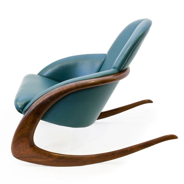 Crescent Rocker by Wendell Castle: Walnut and leather, 1984