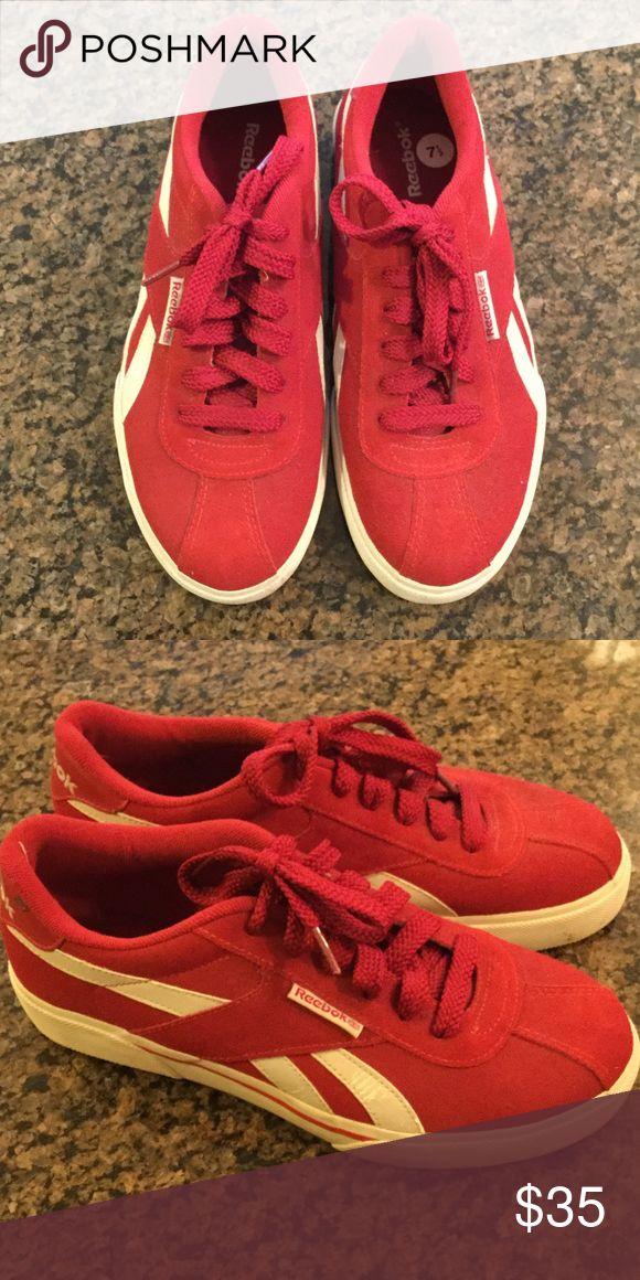 Reebok suede athletic shoe Reebok red suede athletic shoe, gently worn. Reebok Shoes Athletic Shoes