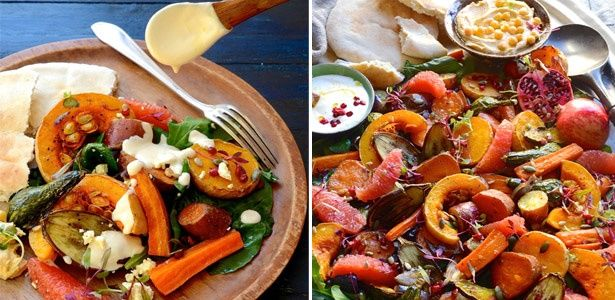 Roast vegetables with tahini-yoghurt drizzle