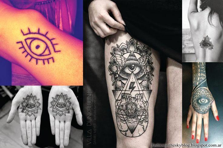 """Pero no solo en la ropa y accesorios ,  también el tatuaje con este símbolo lo veo por todos lados ultimamente. También esta la versión del ojo dentro de una pirámide o un trianulo. Ambos tienen distintos significados  que van cambiando según la cultura o el país. Pero generalmente se lo asocia con el ojo de Dios que todo lo ve o """"ojo de la providencia""""."""