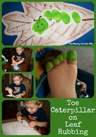 Toe caterpillar on leaf rubbing #craftsforkids