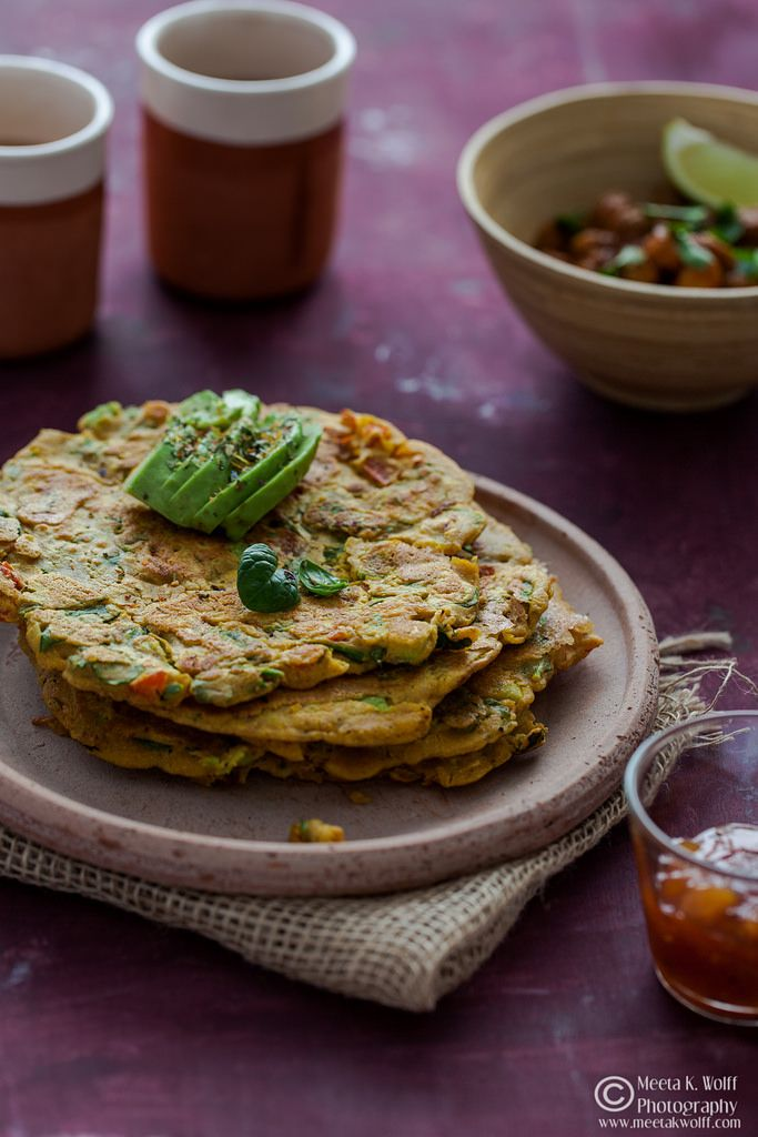 Cheela - Indian Spiced Chickpea Pancakes with Avocado, Kale and Spinach