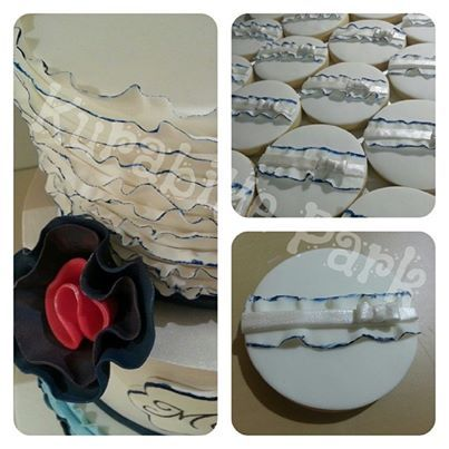 3 Tiered Engagement Cake and Matching Cookies