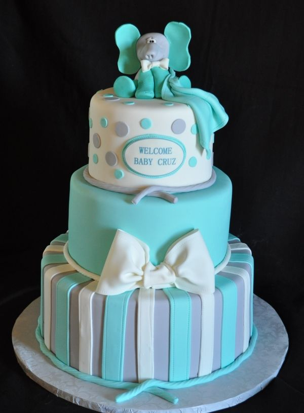 teal and gray baby shower cake, pink (or purple) and gray for a girl, replace elephant with shoes