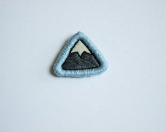Embroidered Mountain Patch -Small Mountain Embroidery Skiing Hiking Camping Patch