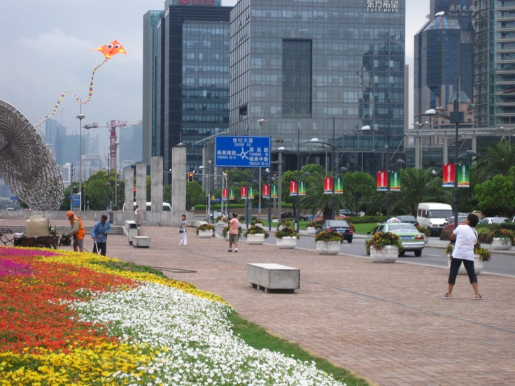 Financial Center, PuDong district - I spy....a man spraying the flowers with chemicals?
