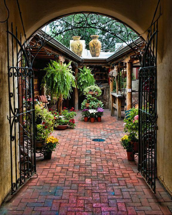 Santa Fe Photograph - Into the Courtyard - Fine art travel photography - Southwest Door art - Wall art