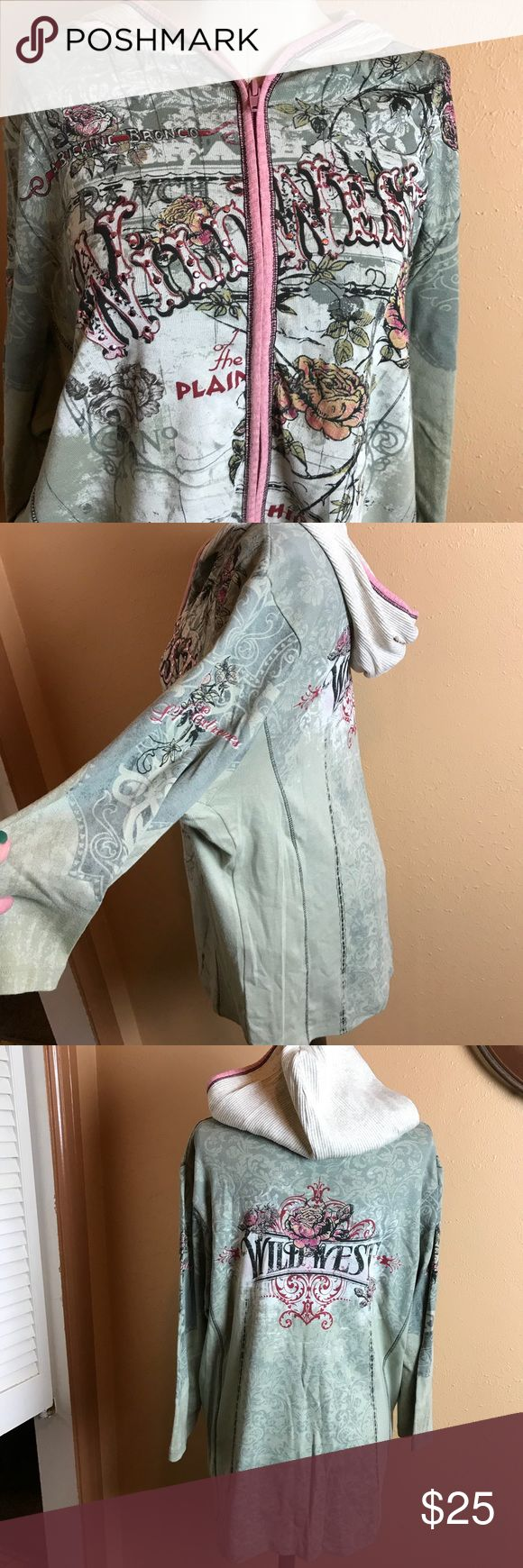"""➕ Vanilla Sugar Women's Top 1X Zip Up Hoodie EUC! Worn once!! Very cute pink and olive Zip up with cream colored hoodie. Great graphics! Check out the pictures! Metal studs on front for some bling! Chest 25"""", Length 27"""", Sleeve 18"""". Vanilla Sugar Tops Sweatshirts & Hoodies"""