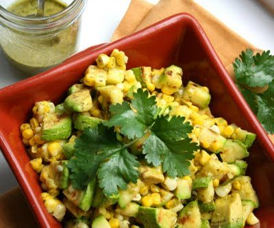 Grilled Zucchini Corn Salad with Cilantro Lime Vinaigrette | Make Ahead Meals For Busy Moms