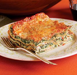 Spinach and Ricotta Lasagne.  My favorite.  I often substitute ricotta with cottage cheese and also use fresh spinach steamed instead of frozen.