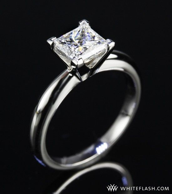Ideal Wedding Ring Simple Band White Gold One Stone