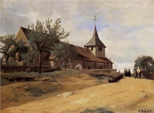 The Church at Lormes - Camille Corot