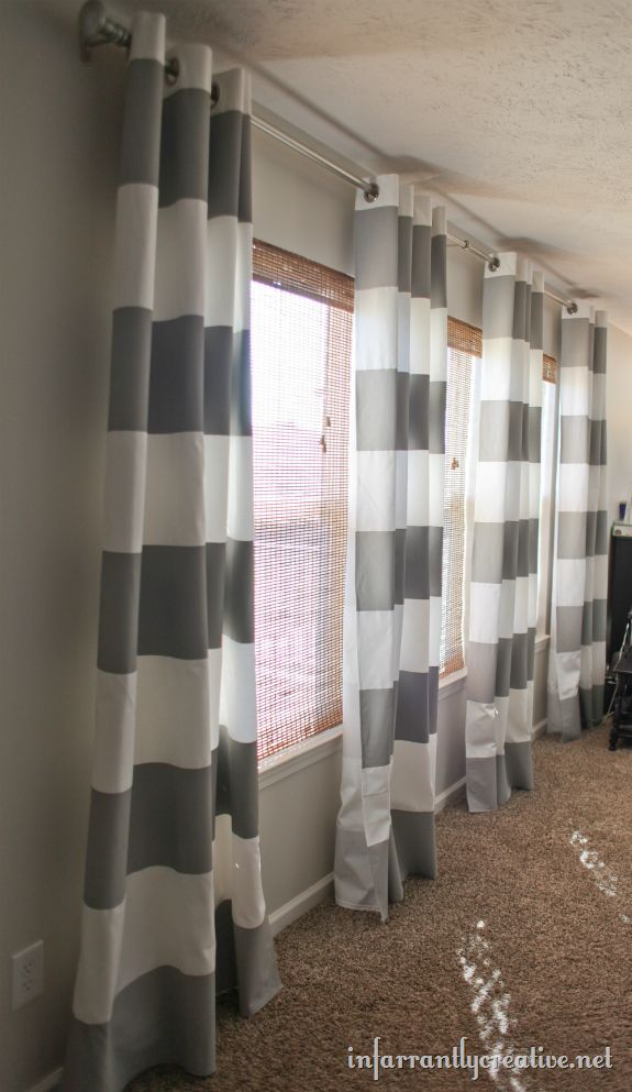Absolutely Fascinated By This IKEA White Panel Curtain Painted With Stripes