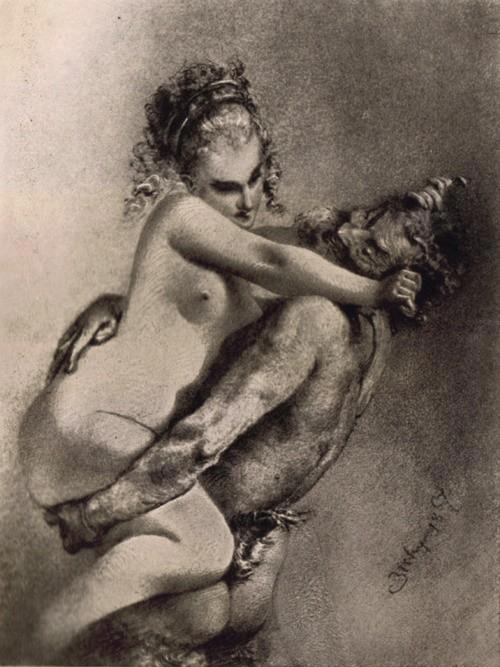 Satyr and Nymph; Mihály Zichy