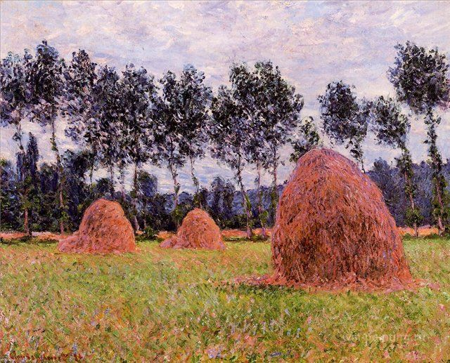 пейзаж < Стога сена, облачный день >:: Клод Моне, описание картины - Моне Клод (Claude Monet)