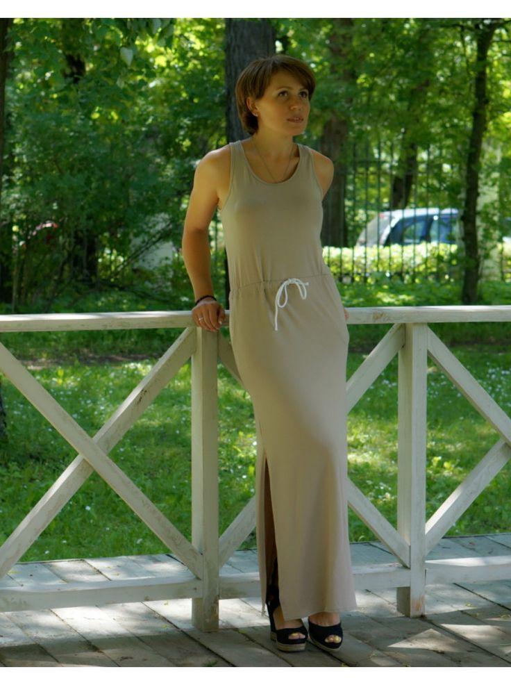 Платье-сарафан с боковыми разрезами и поясом(бежевый)