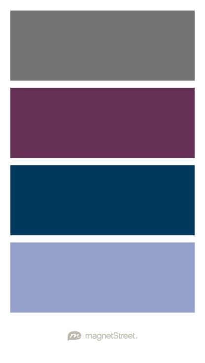 Charcoal, Eggplant, Navy, and Periwinkle Wedding Color Palette - custom color palette created at MagnetStreet.com