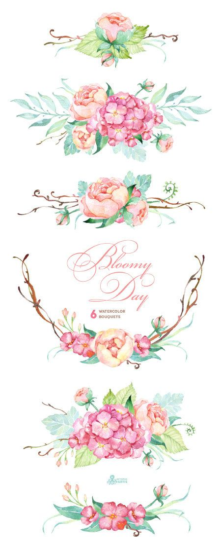 Bloomy Day: 6 Watercolor Bouquets hydrangea от OctopusArtis