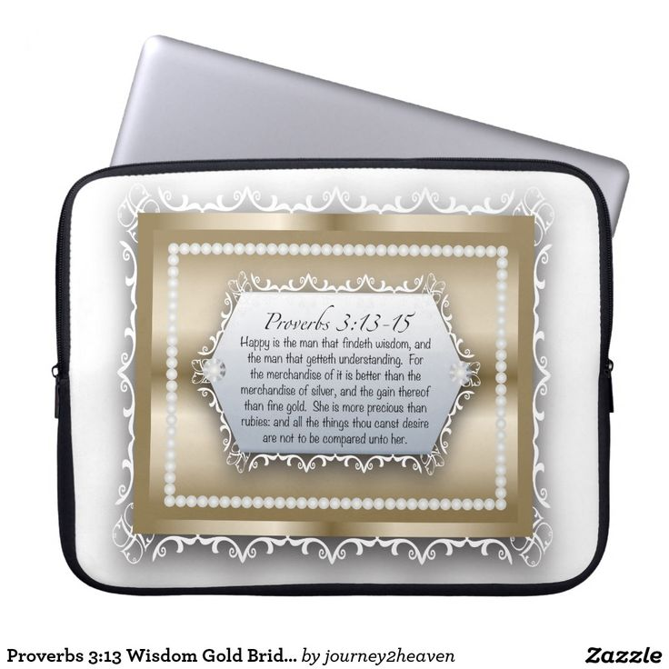 Proverbs 3:13 Wisdom Gold Bride of Christ Laptop Computer Sleeves