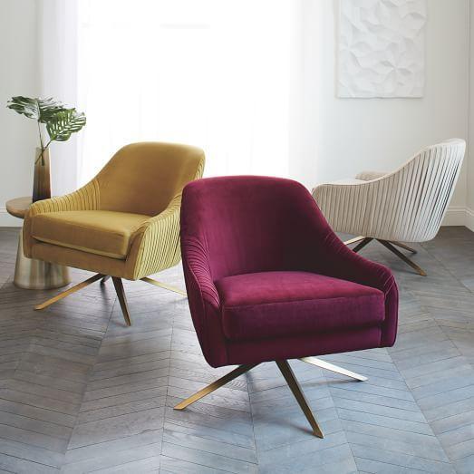 Roar + Rabbit Chair, Performance Velvet, Stone