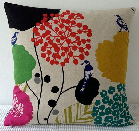 NEW Japanese fabric cushion cover in natural background with bird and floral motif, throw pillow, decorative cushion