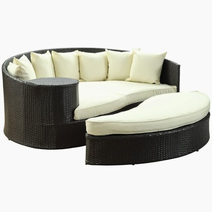 LexMod Taiji Outdoor Wicker Patio Daybed with Ottoman in Espresso with White Cushions - Outdoor Patio Furniture Sofa