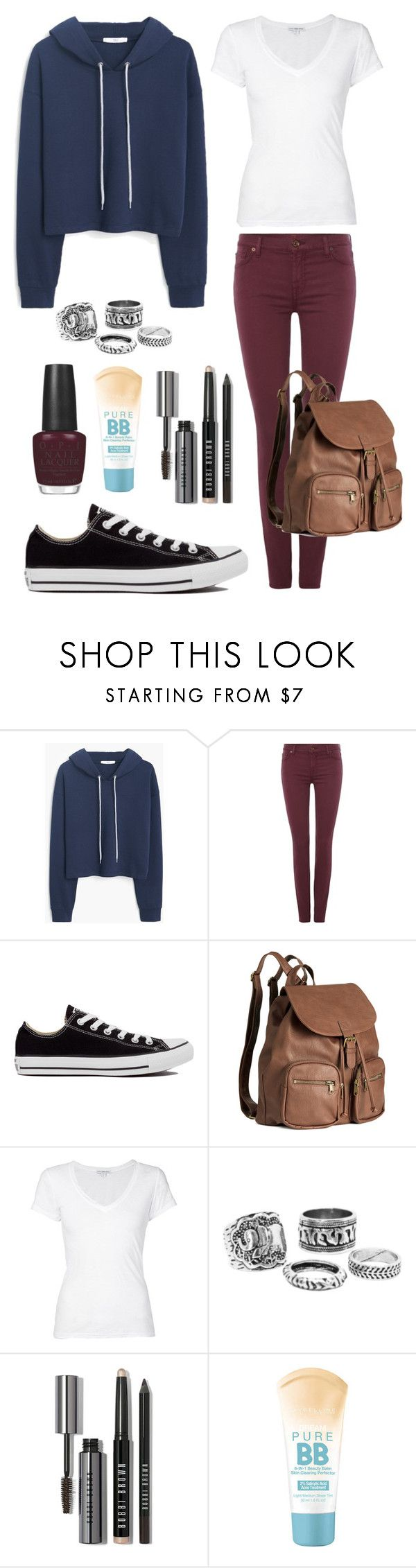 """""""Back to School Outfit"""" by sophiesayshi ❤ liked on Polyvore featuring MANGO, 7 For All Mankind, Converse, H&M, James Perse, Bobbi Brown Cosmetics, Maybelline and OPI"""