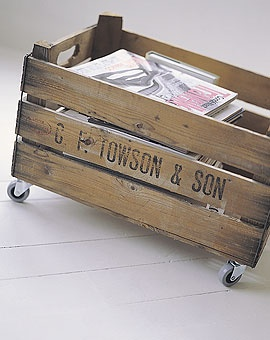 rolling Crate to hold kid's book and toys...and probably boys.