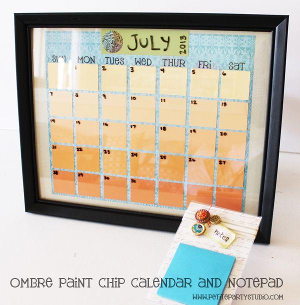 Diy Ombre Calendar : Best ideas about paint sample calendar on pinterest