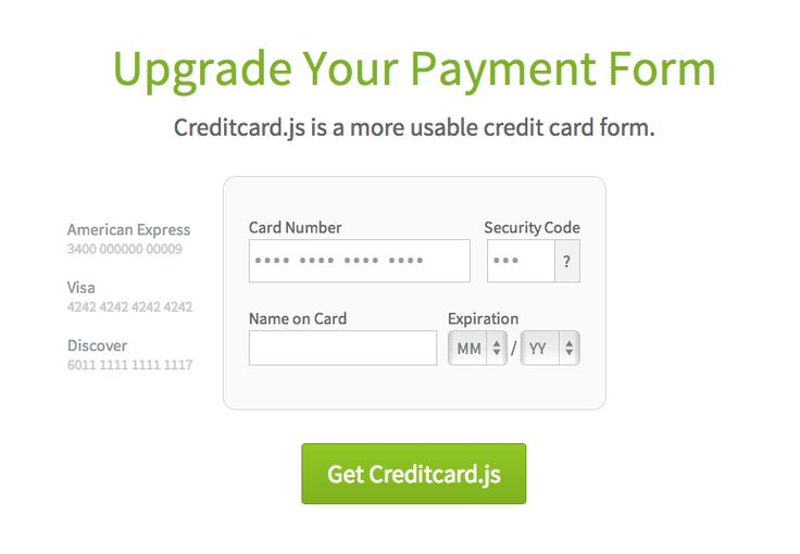 Upgrade Your Payment Form Creditcardjs is a more usable credit - credit card form