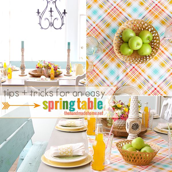 tips + tricks for an easy spring table | the handmade home: Tables Colors, Ideas Galor, Colors Homedecor, Easter Ideas