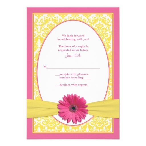 Pink Yellow Gerbera Daisy Wedding Reply Card Announcement