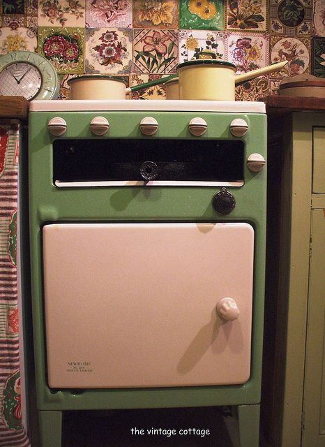 1940s New Home gas cooker by the vintage cottage, via Flickr
