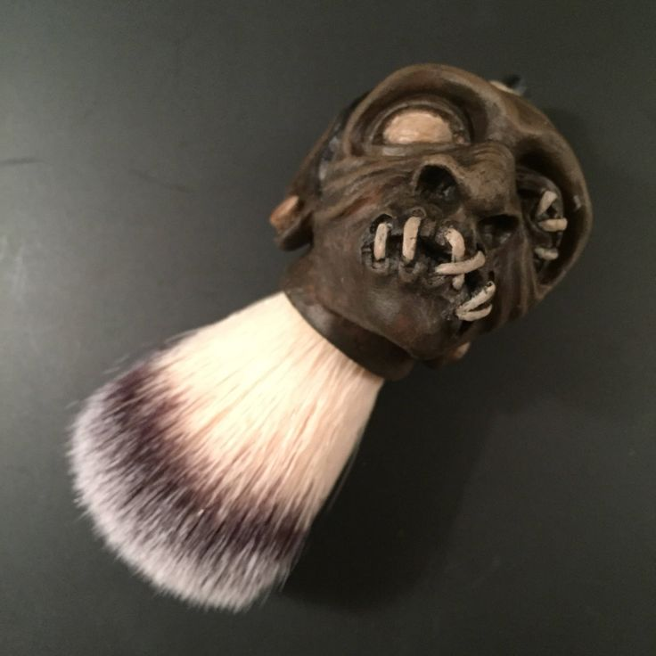 Shrunken Head Shaving Brush For sale in my #etsy shop!  #shrunkenhead #latherbrush #wetshave #shaving #handpainted #handmade #shave #shavingbrush #shavebrush