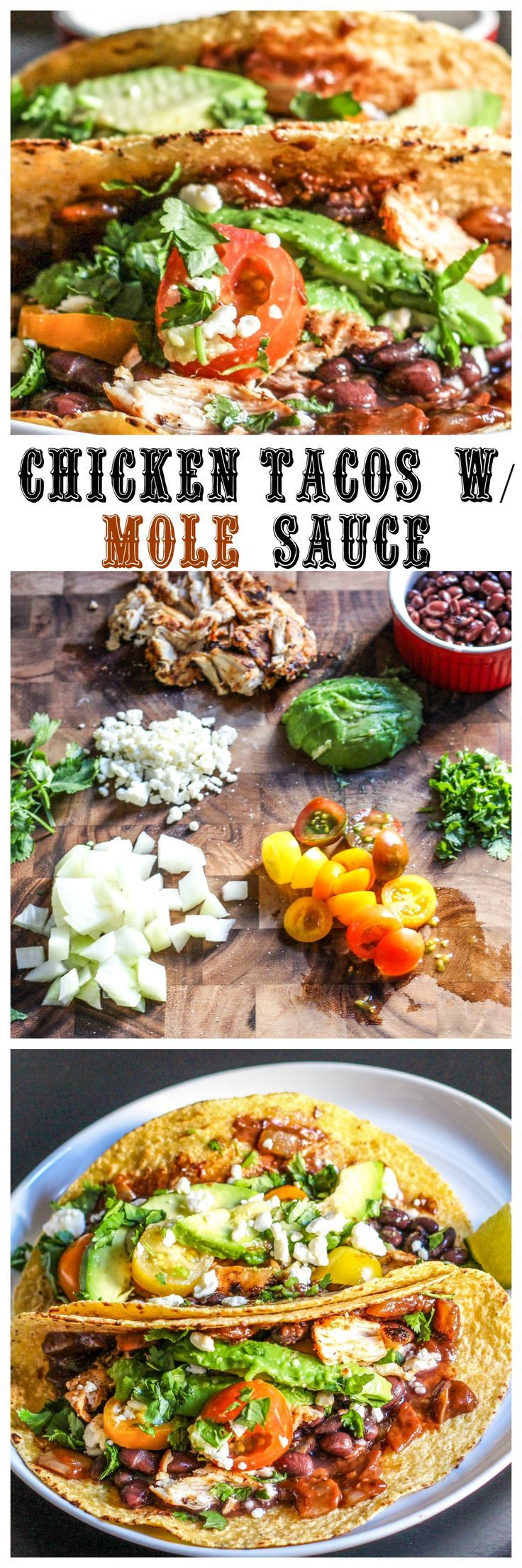 Celebrate Taco Tuesday with these Chicken Tacos with Mole Sauce!