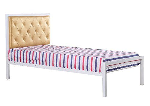 merax metal platform bed frame twin size mattress foundation with upholstered headboard white