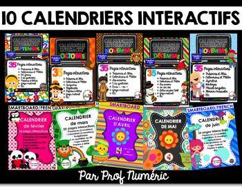 Utilisez ces 10 calendriers interactifs pour tableaux interactifs SMART tout au long de l'année pour prendre les présences de vos élèves, faire le calendrier du matin, travailler les saisons, les 100 jours et pour noter la température à tous les matins.