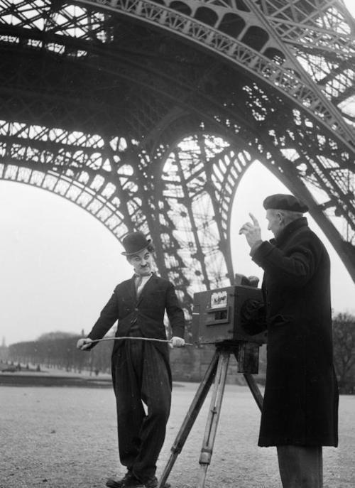 American actor Charlie Chaplin filming under the Eiffel Tower in Paris #France #Film