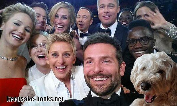 Tali the Wheaten Terrier in Ellen's selfie at the Oscars. Lucky dog!