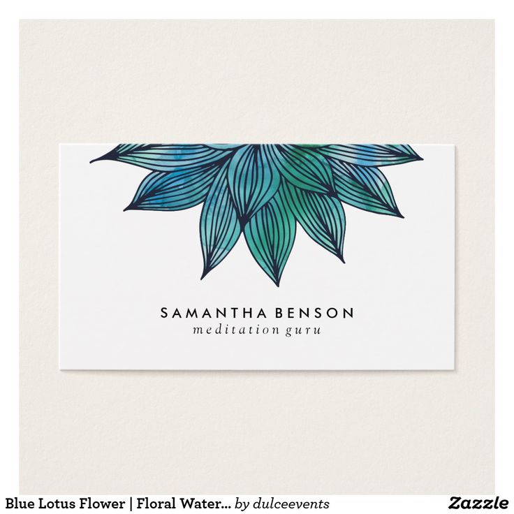 Blue Lotus Flower | Floral Watercolor Business Card | Zazzle.com