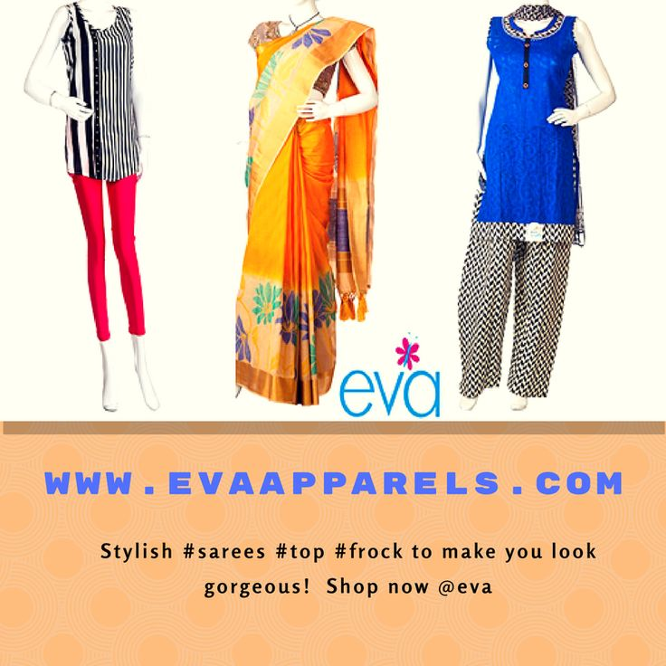 Stylish #sarees #top #frock to op now make you look gorgeous! Shop @ eva  www.evaapparels.com