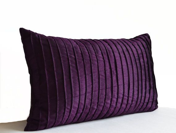 Purple Decorative Pillow Cushion Cover Deep Dark by AmoreBeaute