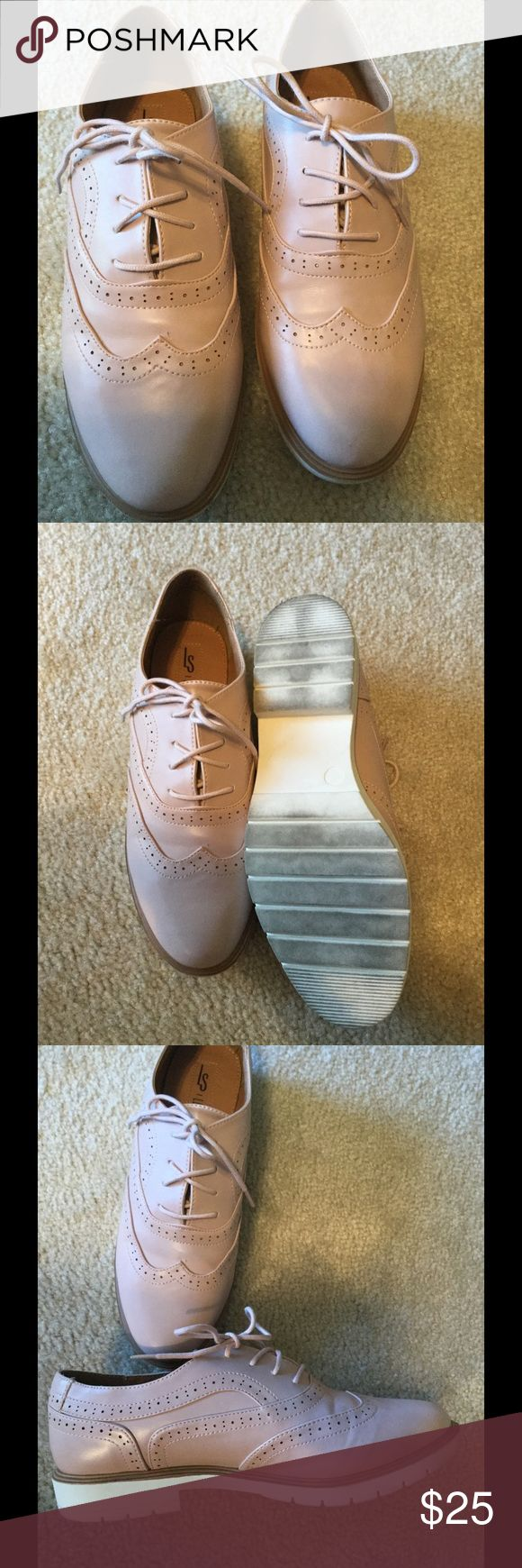 Pink oxfords Size 8, worn once, just too big for me Shoe Dazzle Shoes Flats & Loafers