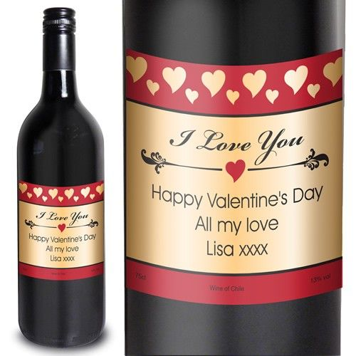 Personalised Hearts I Love You Red Wine  from www.personalisedweddinggifts.co.uk :: ONLY £16.99